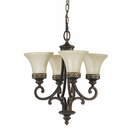 F2221/4WAL Murray Feiss Drawing Room 4 Light Single Tier Chandelier in Walnut Finish