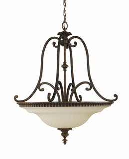 F2222/4WAL Murray Feiss Drawing Room 4 Light Uplight Chandelier in Walnut Finish