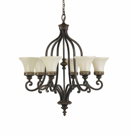 F2224/6WAL Murray Feiss Drawing Room 6 Light Chandelier in Walnut Finish