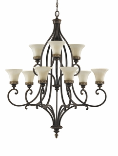 F2225/6+3WAL Murray Feiss Drawing Room 9 Light Multi Tier Chandelier in Walnut Finish