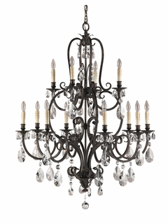 F2229/8+4ATS Murray Feiss Salon Maison 12 Light Multi Tier Chandelier in Aged Tortoise Shell Finish