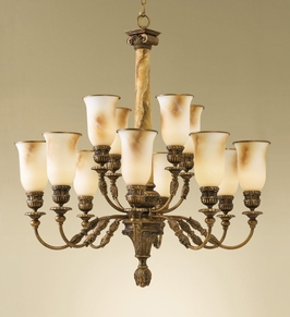 F2238-8-4FG Murray Feiss Lighting Villa Ribero Collection 2-Tier 12-Light Chandelier SPECIAL PRICING!!!