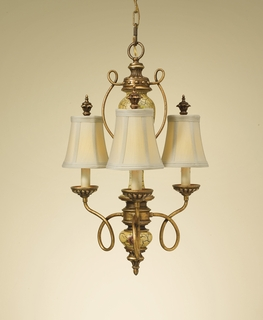 F2240/3AMCR Murray Feiss Gallica Rose 3 Light Chandelier in Amber Crackle Finish