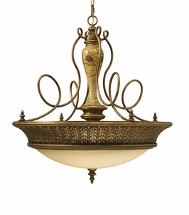F2242/3AMCR Murray Feiss Lighting Gallica Rose Collection 3-Light Uplight Chandelier with Amber Crackle Finish