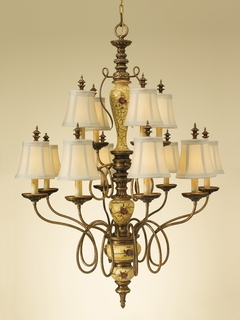 F2243-8-4AMCR Murray Feiss Lighting Gallica Rose Collection 2-Tier 12-Light Chandelier