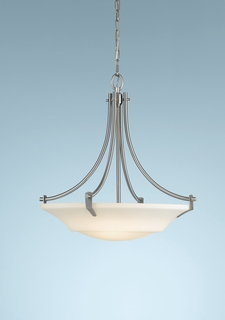 F2245/3BS Murray Feiss Barrington 3 Light Uplight Chandelier in Brushed Steel Finish
