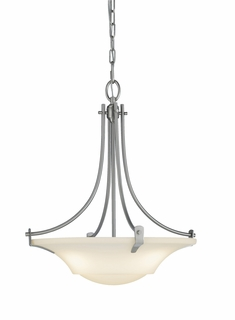F2246/3BS Murray Feiss Barrington 3 Light Uplight Chandelier in Brushed Steel Finish