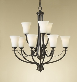 F2253/6+3ORB Murray Feiss Barrington 9 Light Multi Tier Chandelier in Oil Rubbed Bronze Finish
