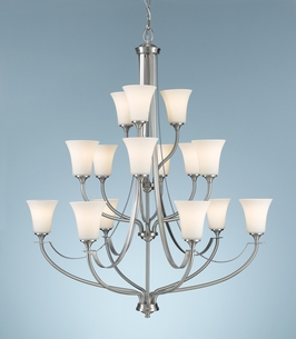 F2254/6+6+3BS Murray Feiss Barrington 15 Light Multi Tier Chandelier in Brushed Steel Finish