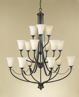F2254/6+6+3ORB Murray Feiss Barrington 15 Light Multi Tier Chandelier in Oil Rubbed Bronze Finish