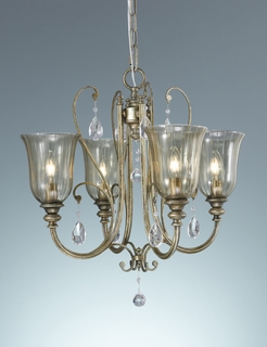 F2259/4MSH Murray Feiss Lighting Smokey Topaz Collection 4-Light Mini Duo-mount Chandelier with Moonshadow Finish