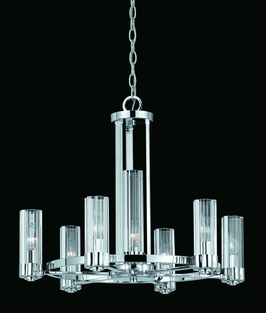 38103 Triarch International 6+1 Light Glacier Chandelier