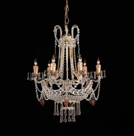 C4506-GL Crystorama Lighting Paris Flea Chandelier Adorned With Amber Colored Murano Crystal