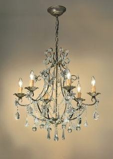C4516-BI Crystorama Lighting Paris Flea Chandelier Adorned With Clear Murano Crystal
