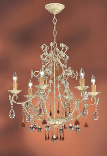 C4516-CM Crystorama Lighting Paris Flea Chandelier Adorned With Amber Colored Murano Crystal