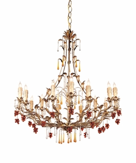 C4610-GL Crystorama Lighting Ritz Chandelier Adorned With Amber Colored Murano Crystal