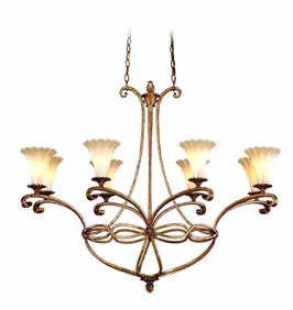 C47-58 Corbett Lighting Nicole Eight-Light Island in Parisan Silver Finish