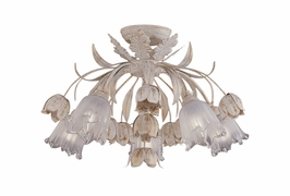 C4810-AW Crystorama Lighting Southport Handpainted Wrought Iron Floral Semi Flush Mount