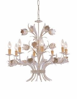 C4818-AW Crystorama Lighting Southport Handpainted Wrought Iron Chandelier
