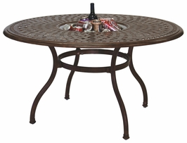 "201060-DQ Darlee 52"" Round Dining Patio Table / Ice Bucket Insert in Cast-Aluminum with a Mocha or Antique Bronze Finish"
