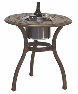 "201060-RQ Darlee 24"" Round End Patio Table / Ice Bucket Insert in Cast-Aluminum with a Mocha or Antique Bronze Finish"