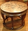 V-089 Half Round Carved Wood Table