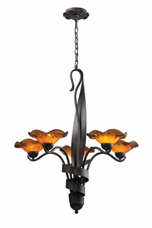 10183/5AMB Elk Villa 5-Light Chandelier Amber Glass in Weathered Rust (DISCONTINUED ITEM)