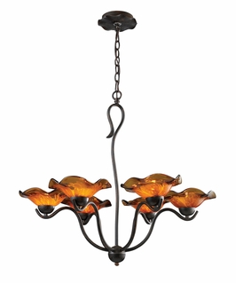 10184/6AMB Elk Villa 6-Light Chandelier Amber  Glass in Weathered Rust (DISCONTINUED ITEM)