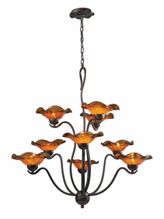 10186/9AMB Elk Villa 9-Light Chandelier Amber Glass in Weathered Rust (DISCONTINUED ITEM)
