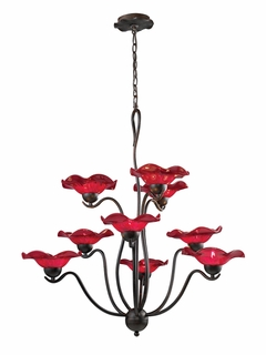 10186/9CHY Elk Villa 9-Light Chandelier Cherry Glass in Weathered Rust (DISCONTINUED ITEM)