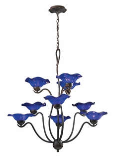 10186/9COB Elk Villa 9-Light Chandelier Cobalt Glass in Weathered Rust (DISCONTINUED ITEM)