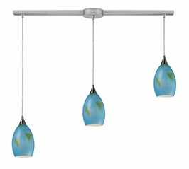 10209/3L-OAS Elk Tranquility 3-Light Linear Oasis Pendant in Satin Nickel (DISCONTINUED ITEM)