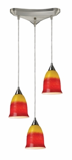 10218/3FIR Elk Horizon 3-Light Fire Pendant in Satin Nickel (DISCONTINUED ITEM)