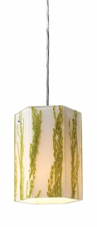 19041/1 Elk Modern Organics-1-Light Pendant in Green Sawgrass Material in Polished Chrome (DISCONTINUED ITEM)