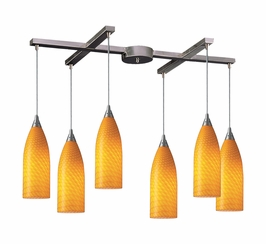 522-6CN Elk Cilindro 6 Light Mini Pendant In Satin Nickel And Canary Glass
