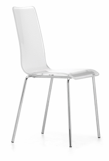 100300 Zuo Modern (Package of 4) Stripy Dining Chair in White Finish