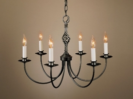 10-8060-03-R Hubbardton Forge Six-Arm Wrought Iron Chandelier (Return Product)