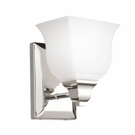 10658PN Kichler Polished Nickel Wall Sconce 1Lt Fluorescent Square Curves Wall Light (DISCONTINUED ITEM!)