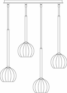 1074 Framburg Lighting Delphine 4 Light Pendant