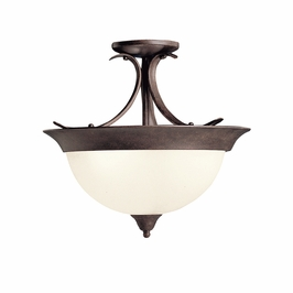 10823TZ Kichler Tannery Bronze Semi Flush 1Lt Fluorescent Ceiling Lights (DISCONTINUED ITEM!)