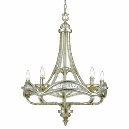 LJ5005MVLady Jayne Chandelier in Matte Silver Leaf from Quoizel Lighting
