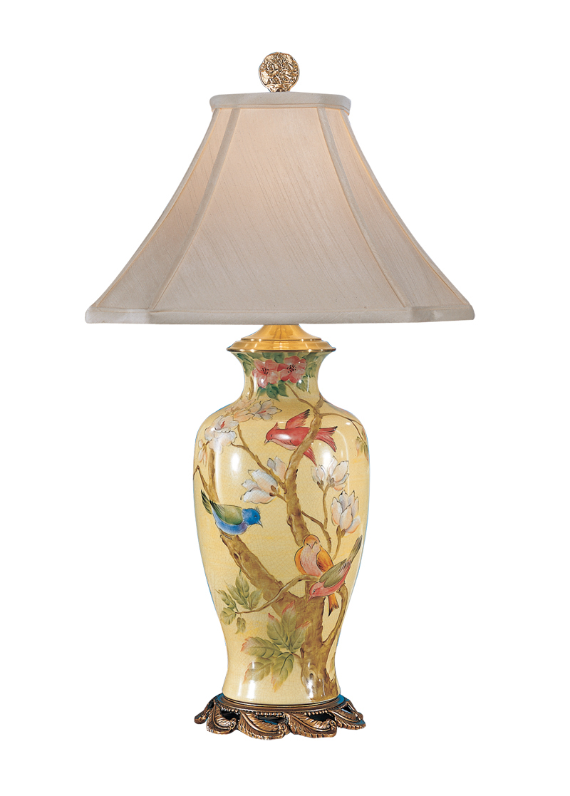 3968 wildwood lamps spring birds lamp with hand painted crackle
