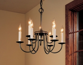 12-2090 Hubbardton Forge Nine-Arm, Two-Tier Wrought Iron Chandelier (CLEARANCE ITEM)