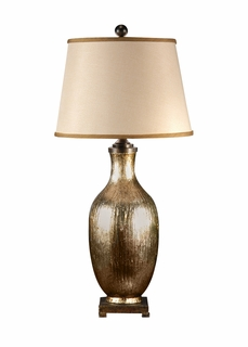 46653 Wildwood Lamps Grooved and Great Lamp with Hand Colored Ceramic with Iron