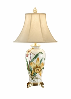 5827 Wildwood Lamps Exotic Yellow Orchids Lamp With Hand Painted Kutani  Porcelain By Pam Shirley