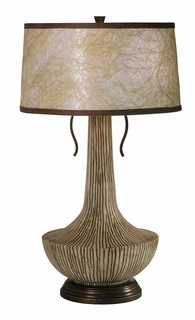 1084-ASL-2048 Thumprints Agave - Table Lamp with Grooved resin/ Hand Painted brown & tan, antique bronze sub-base