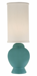 1143-ASL-2103 Thumprints Ginger Turquoise - Mini Lamp with Ceramic mini lamp glazed turquoise