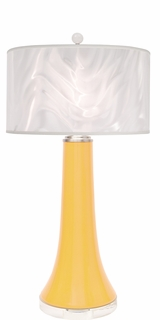 1150-ASL-2109 Thumprints Juicy-sunflower-Glass swirl shade with High gloss sunflower glaze, Brushed nickel,