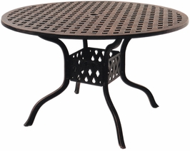 "DL30-C Darlee 48"" Round Dining Patio Table in Cast-Aluminum with an Antique Bronze Finish"