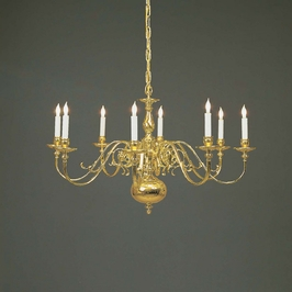 7312-8 Holtkotter Lighting Wurzburg Architectural Flemish Chandelier Fixture in Polished Brass